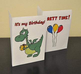 Two Printed Birthday Invitations (Dragon and Balloons)